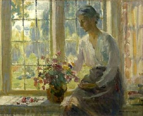 Woman Seated By A Window Arranging Flowers
