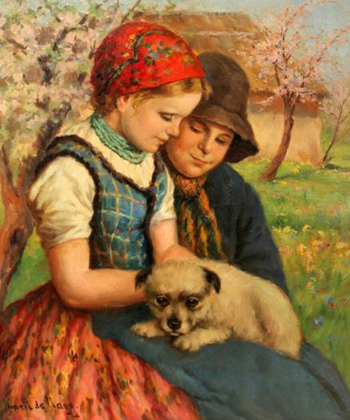 Boy And Girl With Puppy