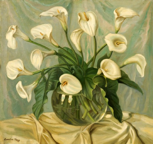 Glass Bowl Of White Calla Lilies