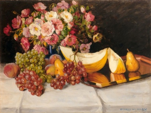 Still Life With Melon, Grapes, Pears And Poppies