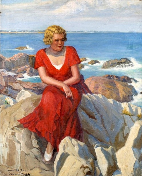 Woman Seated On Rocky Shore, Ogunquit, Maine