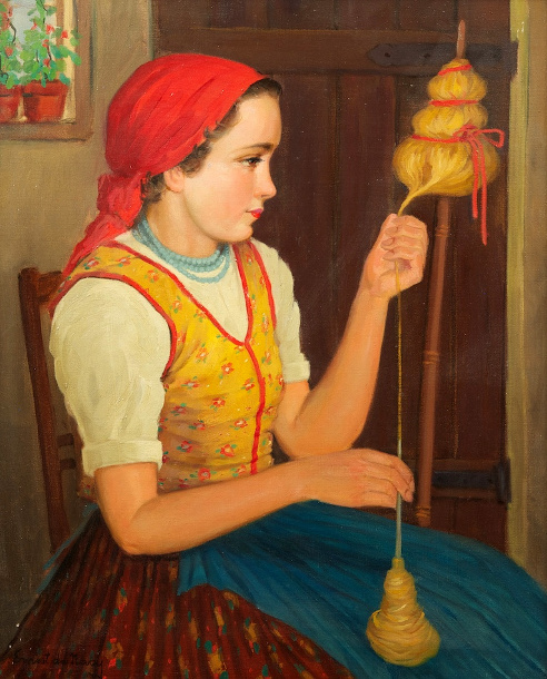 Young Girl Spinning Thread