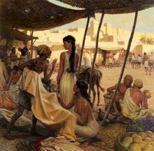 Abraham's Wife, Sara, And A Slave Bargain For Cloth In A Marketplace