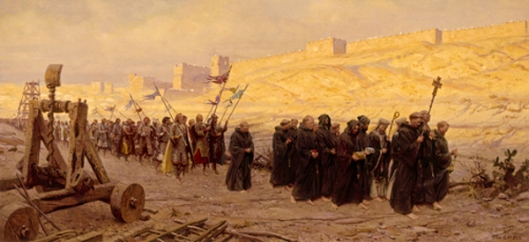 Barefoot Ancient Christian Army Marches Around Besieged Jerusalem