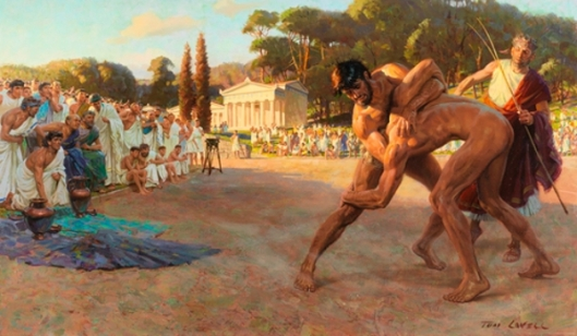 Referee Watches Greek Wrestlers In Ancient Olympic Games