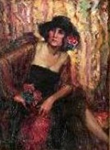 Seated Woman In Black Dress And Hat