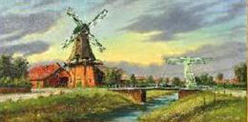 East Frisian Landscape With River And Windmill