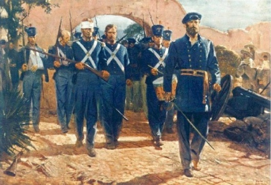 General Quitman Entering Mexico City With Battalion Of Marines, September 1847