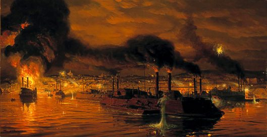 Union Fleet Passing Vicksburg