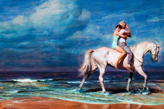 Boy And Girl Riding Horse