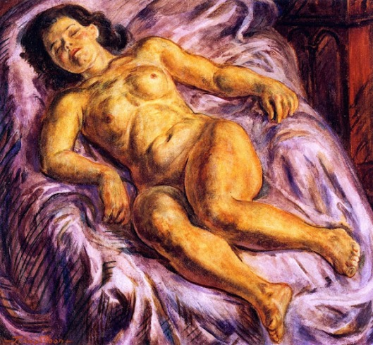 Sleeping Nude On Lavender