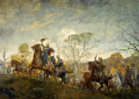 Autumn (J.E.B.Stuart leading his cavalrymen through Virginia woods)