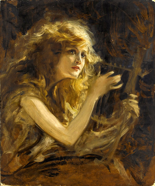 Girl Playing Lyre