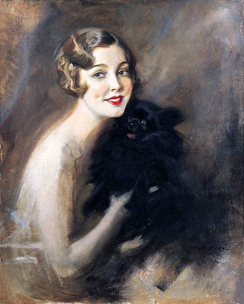 Portrait Of A Lady With A Little Black Dog