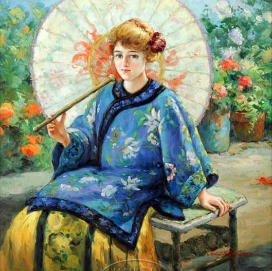The Blue Kimono - Woman With Parasol