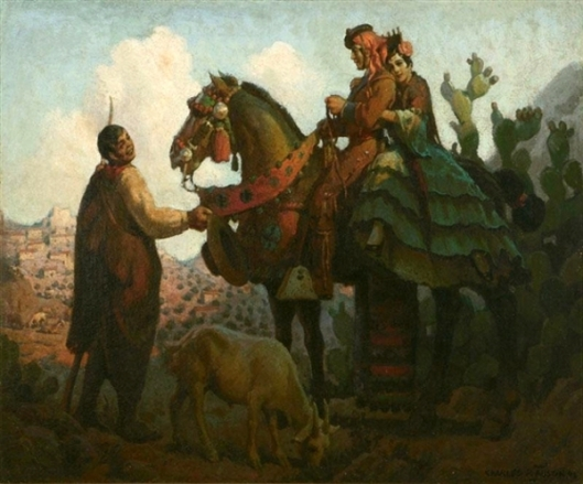 Mexican Figures In A Desert Landscape