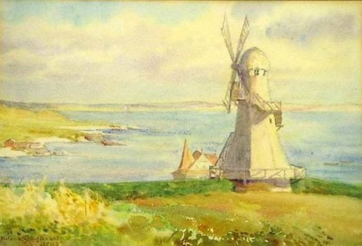 Newport, Rhode Island, Coastal Scene With Windmill