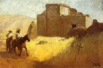Riders Near A Pueblo