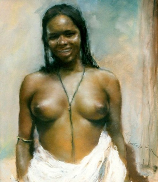 African Half-Nude Woman
