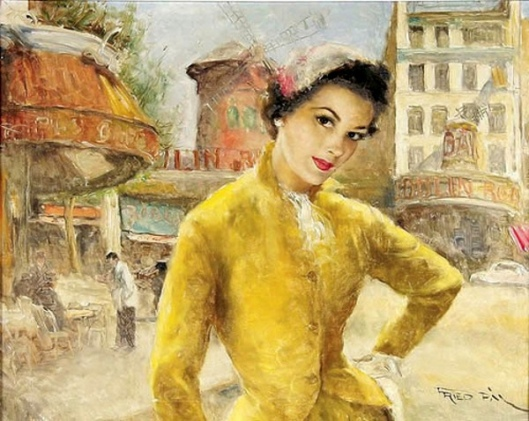 Carmen In Yellow Dress Near The Moulin Rouge