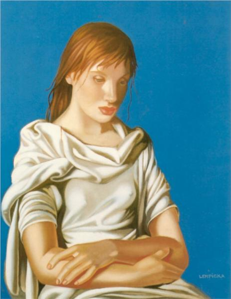 Lady In Blue - Young Lady With Crossed Arms