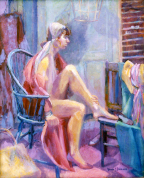 Woman In Wooden Chair