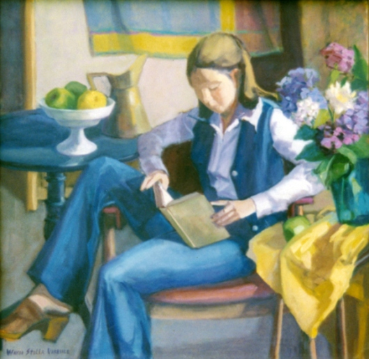Woman Reading In Blue