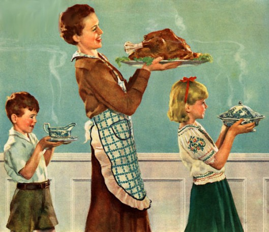 Mother And Children Carrying Thanksgiving Dinner