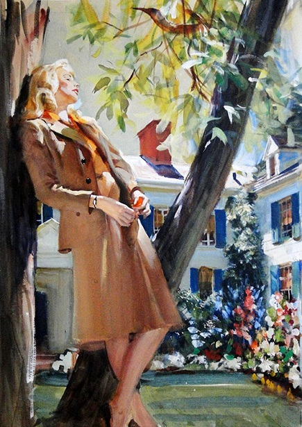 Woman Leaning Against A Tree