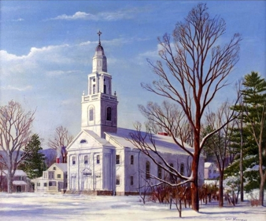 New England Winter - Meeting House At Ware, Massachusetts