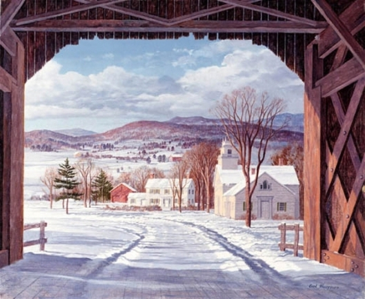 View From A Covered Bridge In Winter