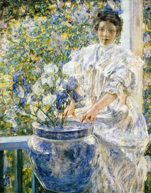 Woman On A Porch With Flowers