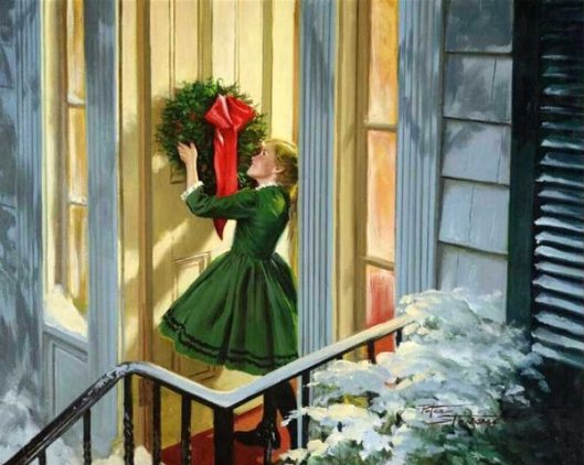 Girl Hanging Wreath