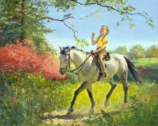 Girl On Horseback In Spring