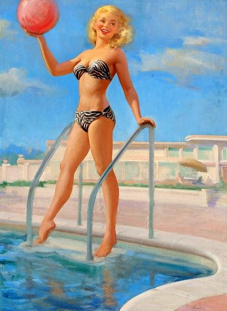 A Bathing Beauty With Beach Ball