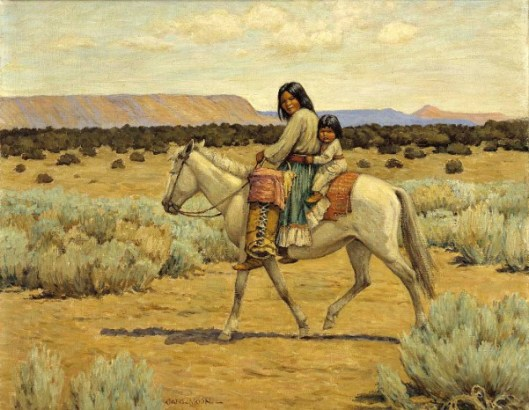 Apache Mother And Child On Horseback