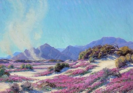 Pink Wildflowers In A Landscape With Dust Devils In The Distance