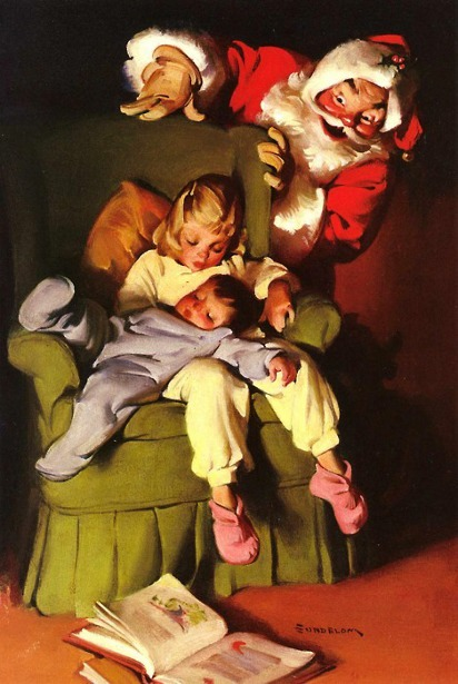 Santa Claus With Two Children Asleep