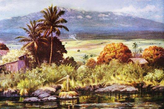 Home And Stream, Mauna Kea In Distance