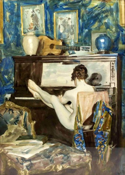 Nude Playing The Piano