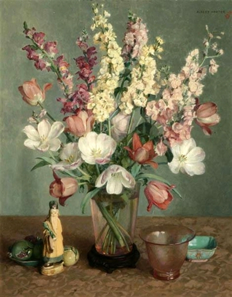 Floral Still Life With Glass And Objects