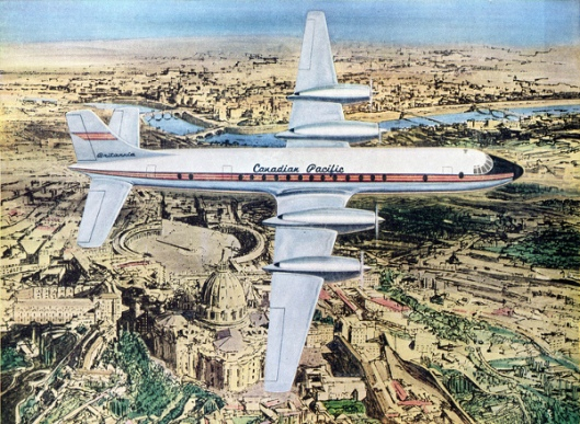 A Canadian Pacific Jet-Prop Britannia Over Rome