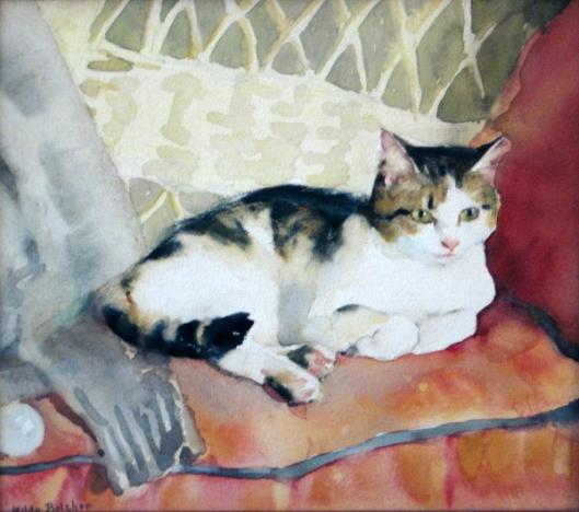 Cat In Wicker Chair