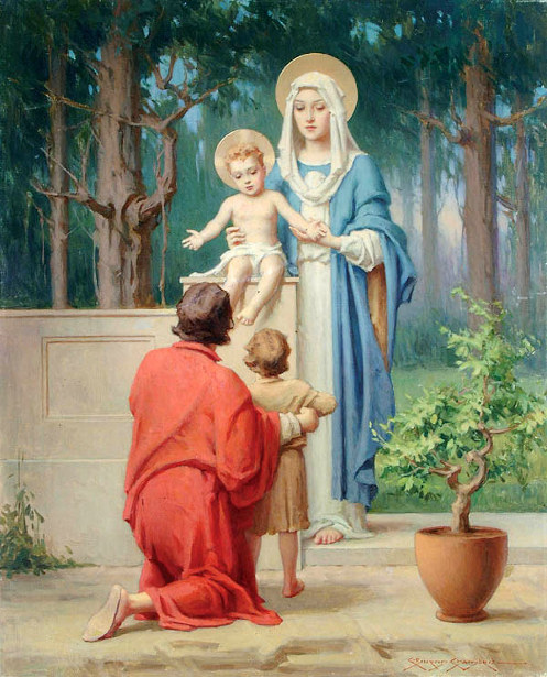 A Father And Child Adoring The Madonna And Infant Jesus