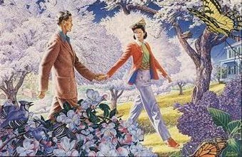Couple Walking In Springtime Orchard