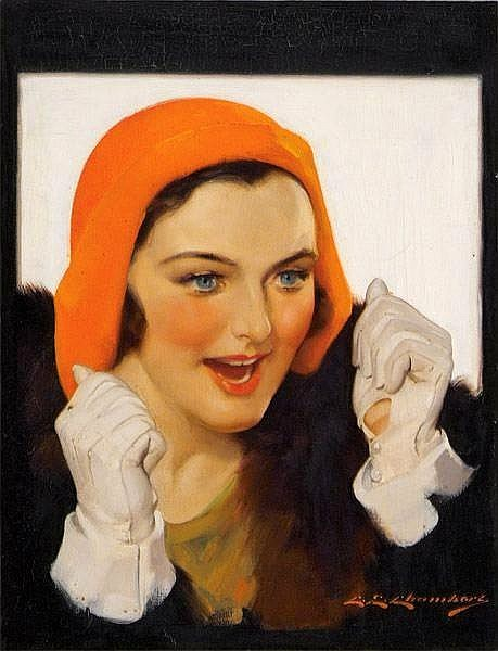 Excited Woman In Orange Hat And White Gloves