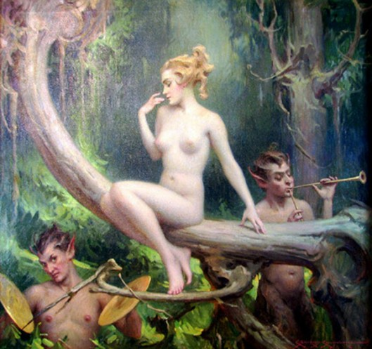 Forest Nymph Visited By Satyrs