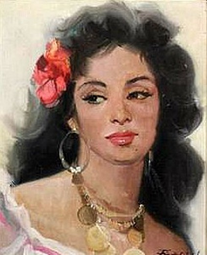 Gypsy Woman With Red Rose