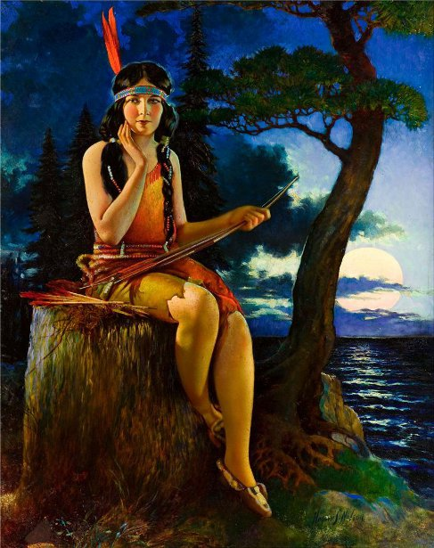 Indian Maiden In The Moonlight