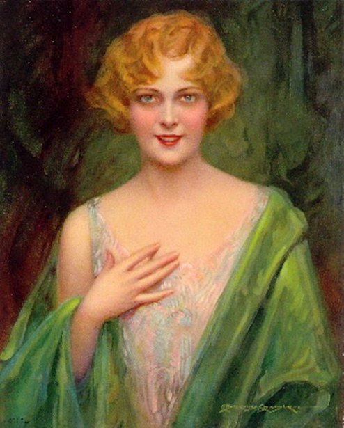 Lady In Green Wrap